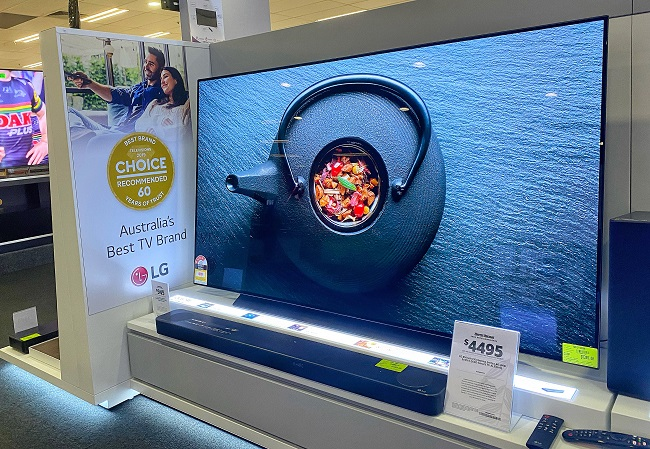 This photo provided by LG Electronics Inc. on Sept. 4, 2020, shows the company's OLED TV displayed at an electronics shop in Sydney, Australia.