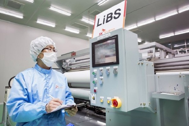 This photo provided by SK Innovation Co. shows lithium-ion battery separator production facilities.
