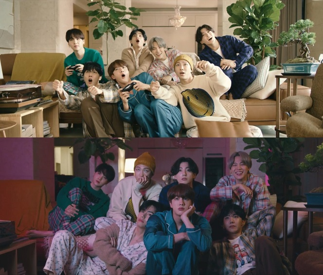 """This composite image provided by Big Hit Entertainment shows members of K-pop group BTS in the music video for the song """"Life Goes On."""""""