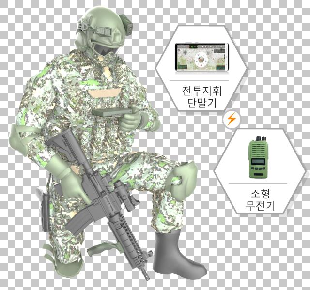 This image, provided by the arms procurement agency, shows a new combat command system developed by LIG Nex1 Co. using Samsung Electronics Co.'s Galaxy S20 smartphone.