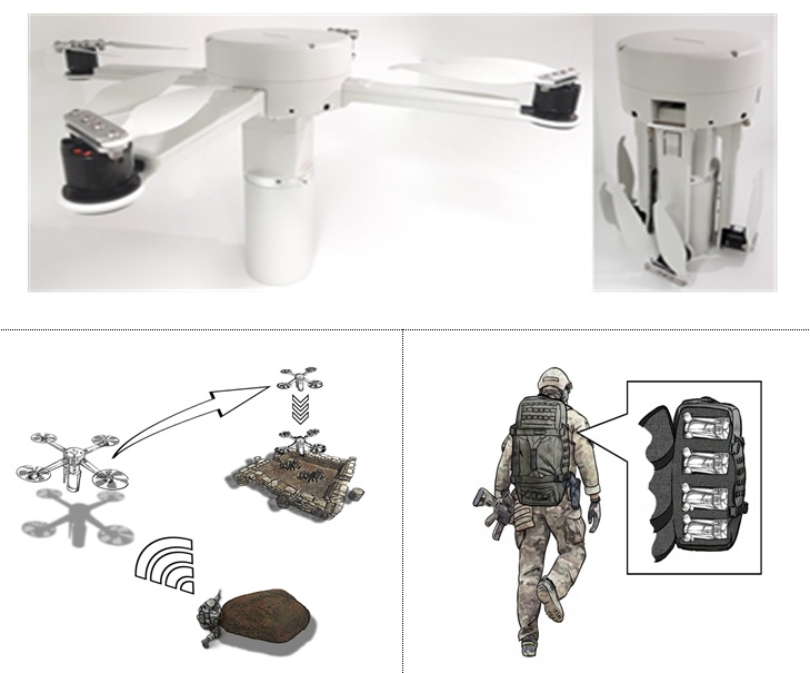 This combined image, provided by the arms procurement agency on Dec. 2, 2020, shows the suicide unmanned aerial vehicle to be deployed to the military on a trial run next year.