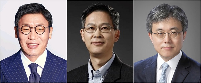 These photos, provided by Samsung Electronics Co. on Dec. 2, 2020, show the company's newly promoted senior executives. From left are Lee Jae-seung, now president and head of the digital appliances business; Lee Jung-bae, named president and head of the memory business; and Choi Si-young, appointed as president and head of the foundry business.
