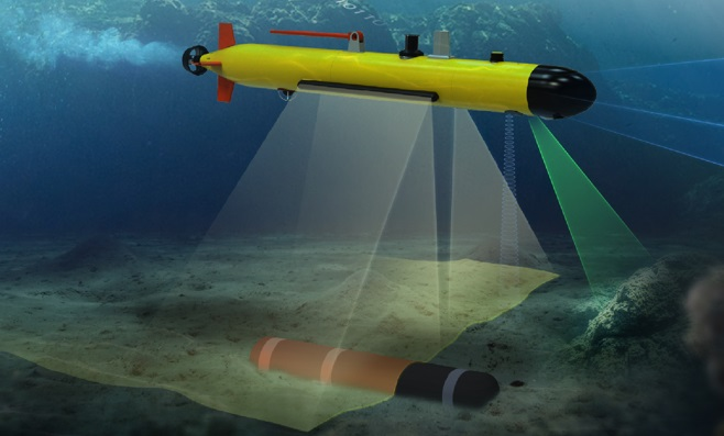 This image, provided by the arms procurement agency on Dec. 9, 2020, shows an artist's rendition of an autonomous underwater mine detector to be developed by South Korea.