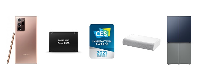 This photo, provided by Samsung Electronics Co. on Dec. 16, 2020, shows the company's products that received honors at the CES 2021 Innovation Awards.