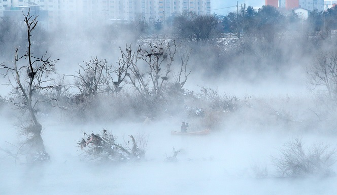 Hoarfrost Covers Soyang River After Temperatures Plunge