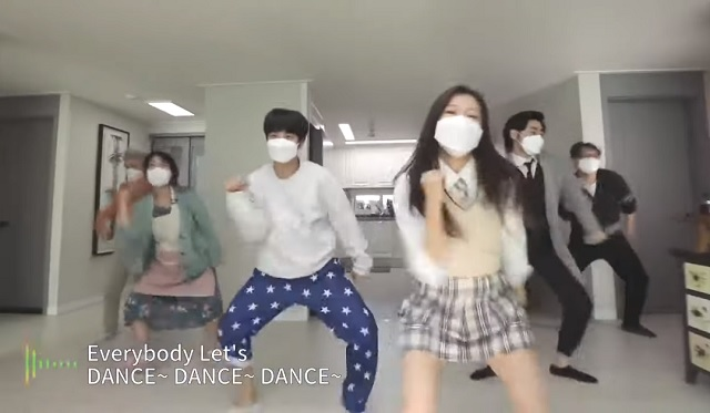 This screenshot, from a campaign video produced by the health ministry, shows a family dancing at home. It triggered a slate of angry comments from people who claimed it could wrongly encourage people to disturb their neighbors.