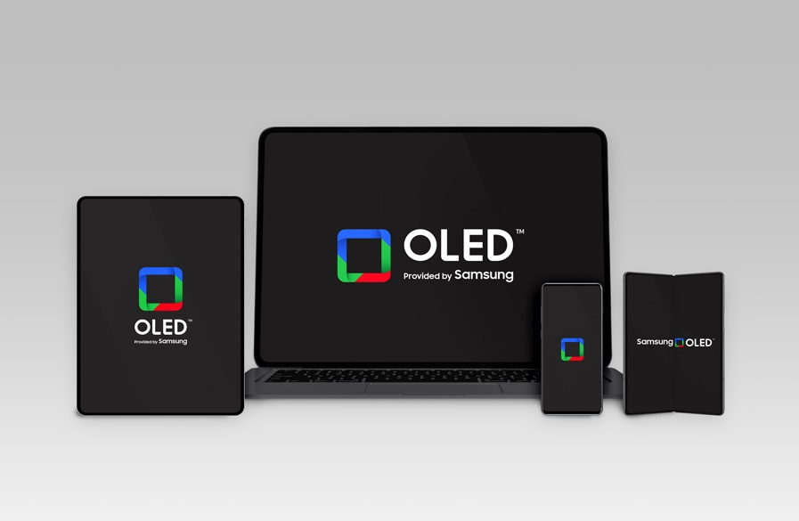 This image provided by Samsung Display Co. on Jan. 7, 2021, shows the company's new logo for its OLED display products.