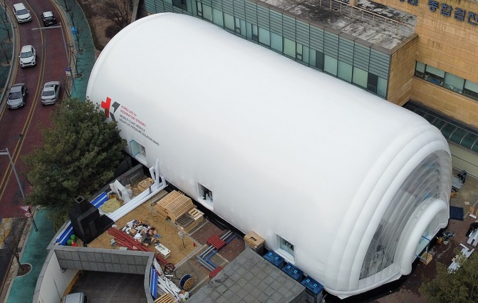 This photo, provided by KAIST on Jan. 7, 2021, shows a mobile clinic module installed at the Korea Institute of Radiological & Medical Sciences in northeastern Seoul.