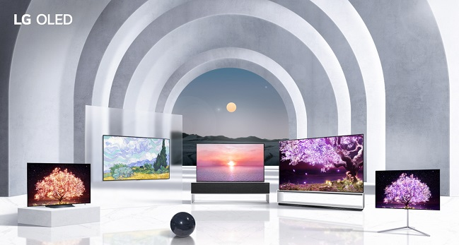 This image provided by LG Electronics Inc. on Jan. 10 2021 shows the company's OLED TV models for 2021