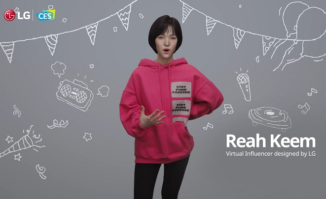 This image provided by LG Electronics Inc. on Jan. 11, 2021, shows Reah Keem, a virtual human designed by LG Electronics, speaking at the company's press conference for CES 2021.