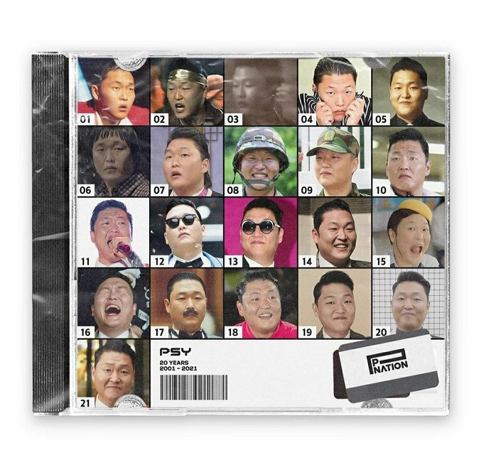 This screenshot from music label P Nation's Instagram account on Jan. 18, 2021, shows photos marking the evolution of Psy on the occasion of the singer's 20th anniversary.