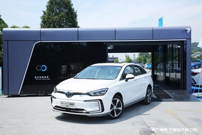 This photo provided by SK Innovation Co. on Jan. 21, 2021, shows Blue Park Smart Energy Technology's battery swap station for electric vehicles in Beijing.