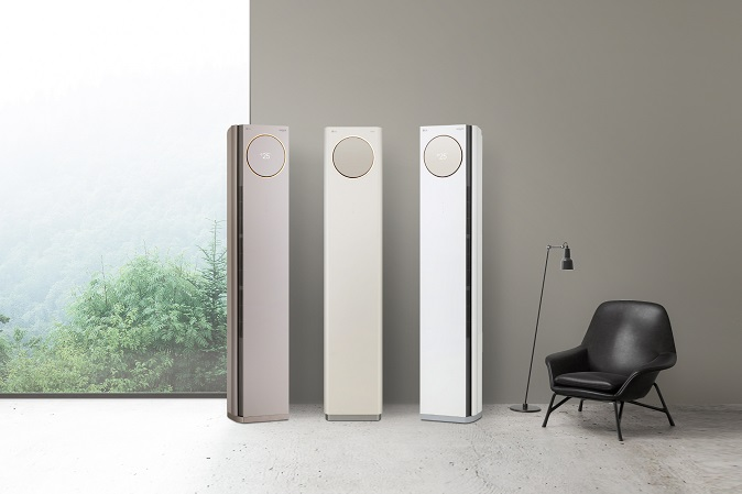 This photo provided by LG Electronics Inc. on Jan. 26, 2021, shows the company's new Whisen Tower air conditioner.