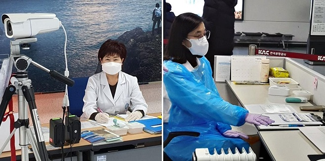 Han Gyeong-im (L) and Lee Myeong-sook are on volunteer duty at fever-screening stations at Jeju Island's seaport and airport, respectively, in these photos provided by each of them.