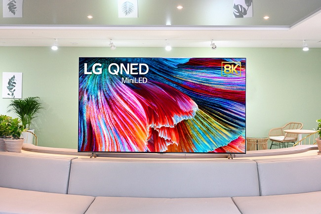 This image provided by LG Electronics Inc. on Dec. 29, 2020, shows the company's new QNED TV using mini LED technology that will be showcased at CES 2021.