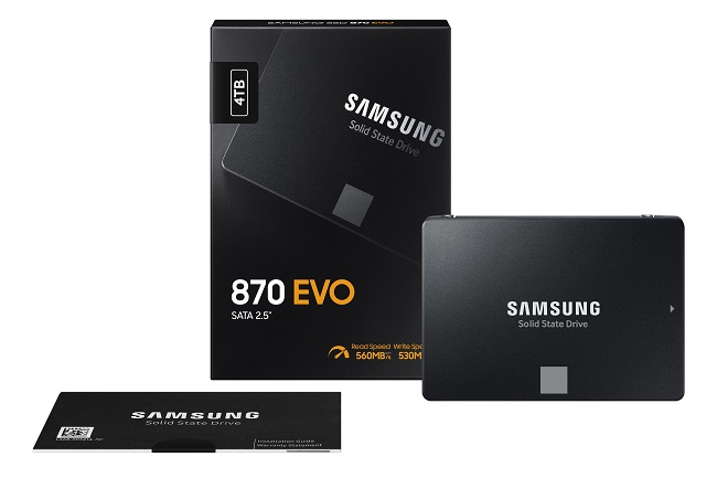 This image, provided by Samsung Electronics Co. on Jan. 20, 2021, shows the company's new consumer solid state drive (SSD) product, the 870 EVO.
