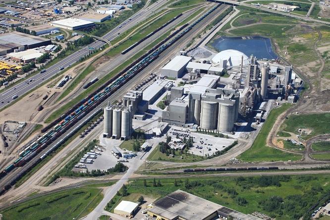 Lehigh Hanson's cement plant in Edmonton, Alberta, Canada.