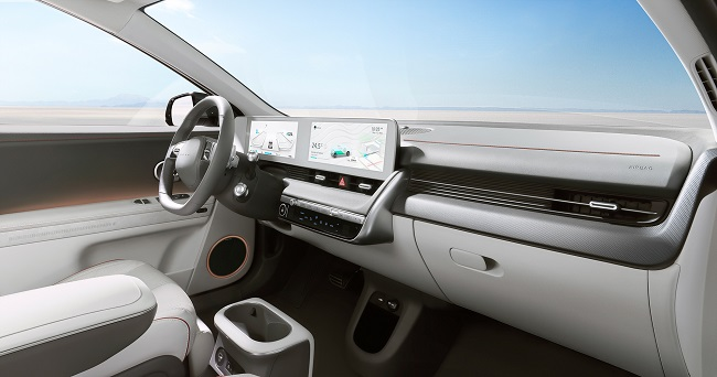 This file photo provided by Hyundai Motor shows the interior design of the IONIQ 5.