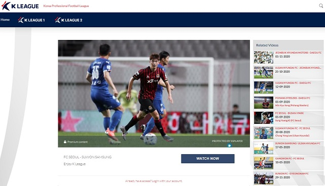 This image provided by the Korea Professional Football League on Feb. 23, 2021, shows its new over-the-top platform, K League TV.