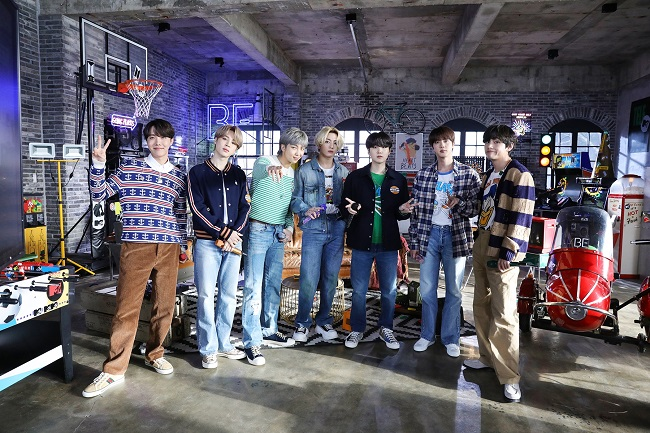"""This photo, provided by Big Hit Entertainment on Feb. 24, 2021, shows BTS on a set for """"MTV Unplugged."""""""