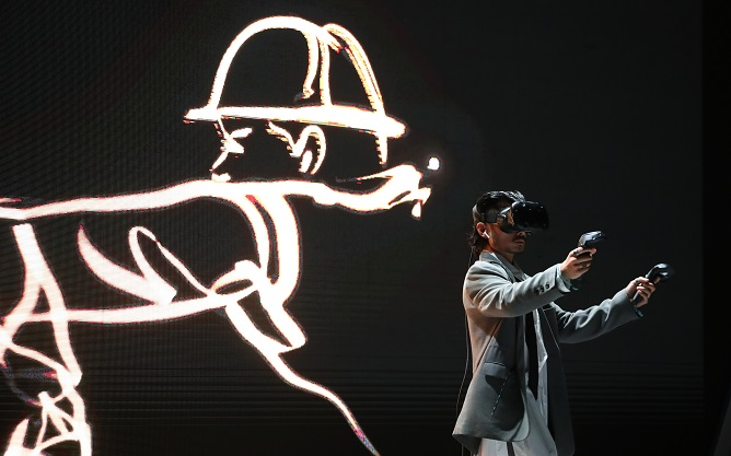 This file photo, taken Nov. 18, 2020, shows an art performance in Sejong, 120 kilometers south of Seoul, using virtual reality technology. (Yonhap)