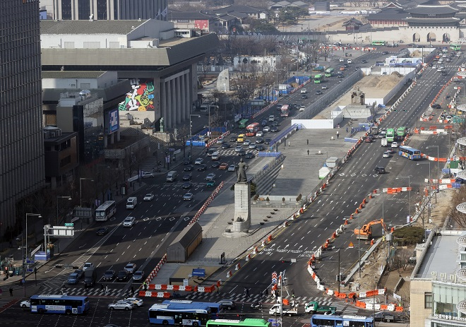 Half of Road Lining Gwanghwamun Square to Close on March 6