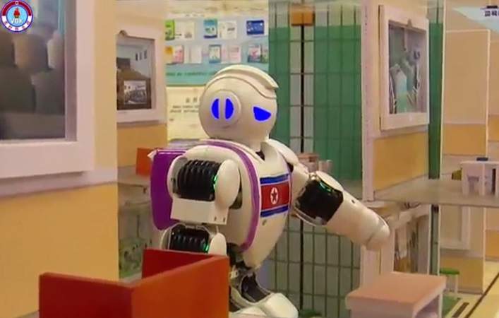 The robots were developed by Pyongyang Teacher Training College using artificial intelligence (AI) technology. (Yonhap)