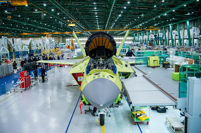 This photo, provided by the arms procurement agency, shows a prototype of South Korea's first indigenous fighter jet, the KF-X, at a Korea Aerospace Industries (KAI) plant in the southeastern city of Sacheon on Feb. 24, 2021.