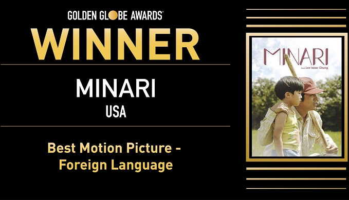 """This image from the Twitter account of the Golden Globe Awards on March 1, 2021, shows """"Minari"""" as the winner of the best motion picture in the foreign language category. (Yonhap)"""