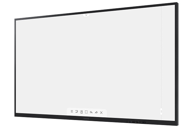 This image provided by Samsung Electronics Co. on March 3, 2021, shows the company's 75-inch Samsung Interactive Display FLIP.