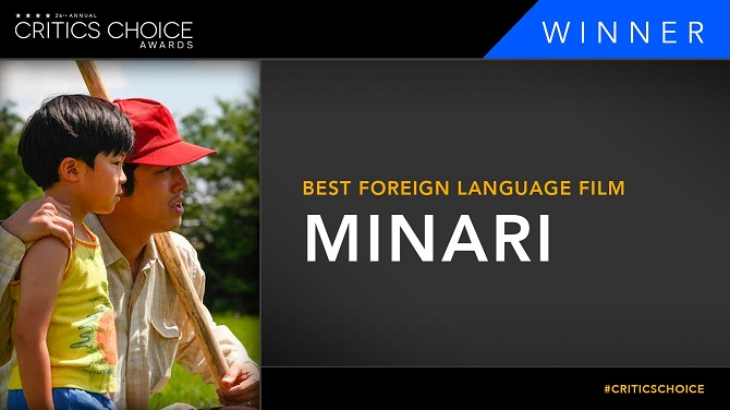 """This image from the Twitter account of the Critics Choice Association announces """"Minari"""" as the winner of best foreign language film at the 26th annual Critics Choice Awards on March 7, 2021."""