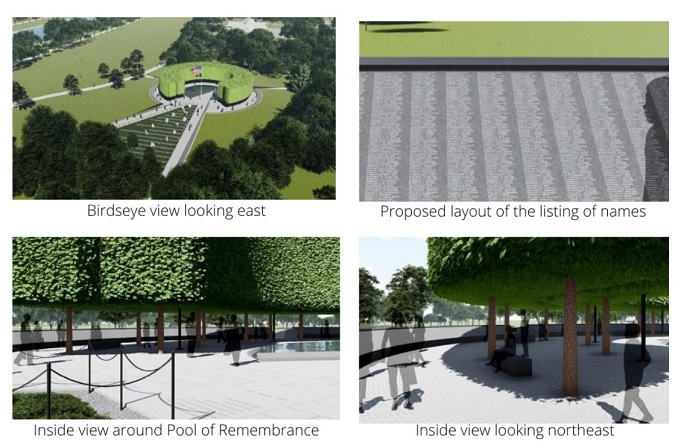 """This file photo from the website of the Korean War Veterans Memorial Foundation shows a blueprint for the envisioned """"Memorial Wall of Remembrance"""" to be constructed in Washington."""