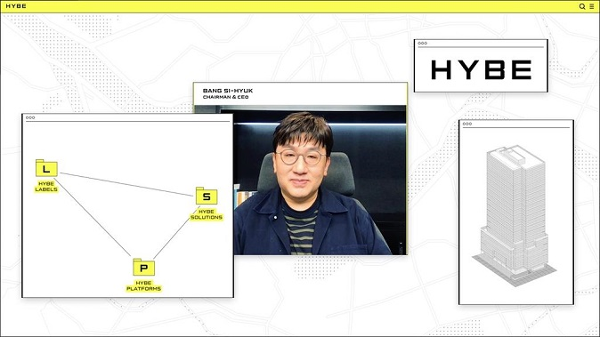 This photo, provided by Hybe, shows its founder and Chief Executive Bang Si-hyuk, who announced a plan to change his company's name from Big Hit Entertainment to Hybe on March 19, 2021.
