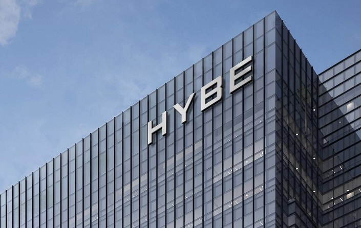 This photo, provided by Hybe, shows a rendering of its name. On March 19, 2021, Big Hit founder and Chief Executive Bang Si-hyuk announced a plan to change his company's name from Big Hit Entertainment to Hybe.