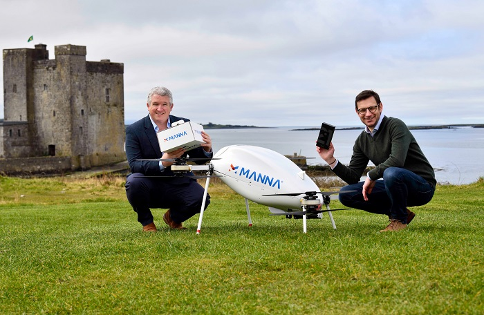 This photo provided by Samsung Electronics Co. on March 24, 2021, shows Eamonn Grant (L), head of online at Samsung Ireland, and Alan Hicks, chief technology officer of Irish drone service firm Manna.