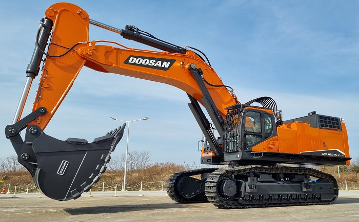 This photo provided by Doosan Infracore Co. on March 28, 2021, shows the company's 100-ton excavator.