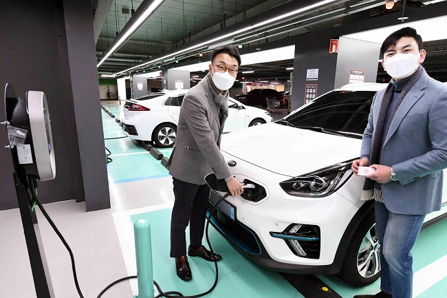 This photo provided by Homeplus Co. shows its electric vehicle charging station in its outlet.