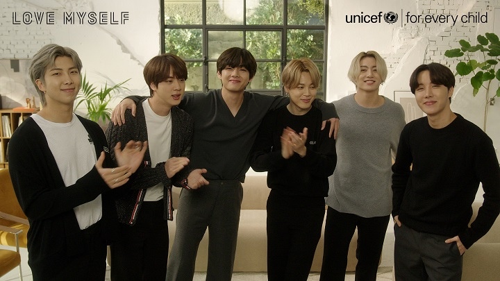 """This photo, provided by the Korean Committee for UNICEF on March 5, 2021, shows BTS taking part in the """"Love Myself"""" campaign."""