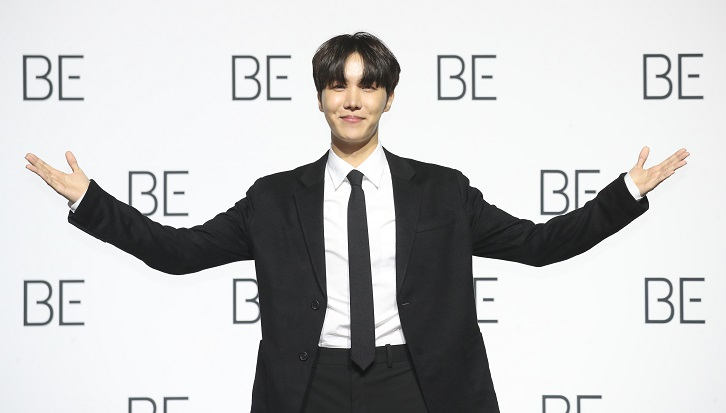 In the Nov. 20, 2020, file photo, BTS member J-Hope poses during the band's press conference at Dongdaemun Design Plaza in Seoul. (Yonhap)