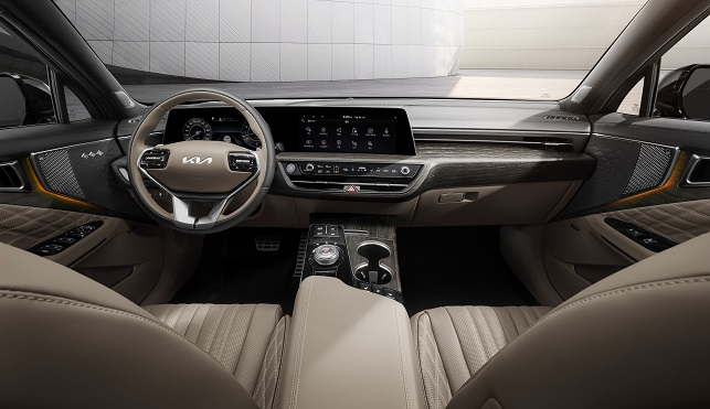 This file photo offered by Kia Corp. shows the interior design of the K8 sedan.