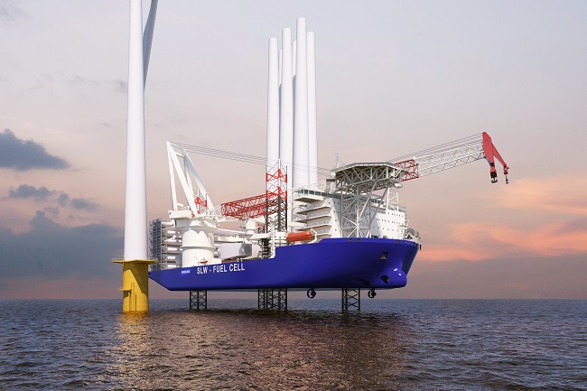 This photo provided by Samsung Heavy Industries Co. on April 8, 2021, shows a wind turbine installation vessel (WTIV) to be built by the shipbuilder.