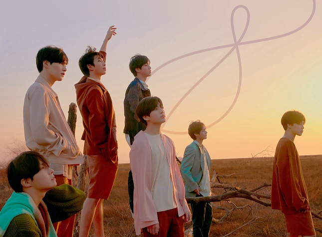 "This photo, provided by Big Hit Music on April 8, 2021, marks 900 million YouTube views for the BTS music video ""Fake Love."""