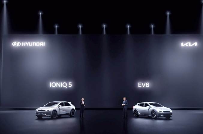 This photo, provided by Hyundai Motor Group, shows the Hyundai IONIQ 5 and the Kia EV6 all-electric models at an online media event in China on April 15, 2021.