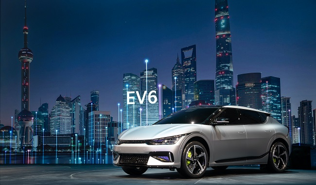 Kia Corp.'s first electric model EV 6 is seen in this photo provided by the Korean automaker on April 19, 2021.