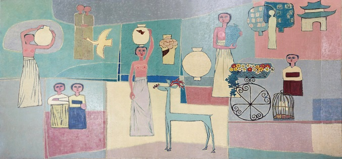 This image, provided by the Ministry of Culture, Sports and Tourism, shows a 1950s painting by South Korean painter Kim Whan-ki.
