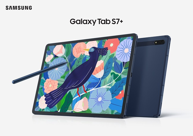 This file photo provided by Samsung Electronics Co. on April 5, 2021, shows the company's Galaxy Tab S7+ tablet.