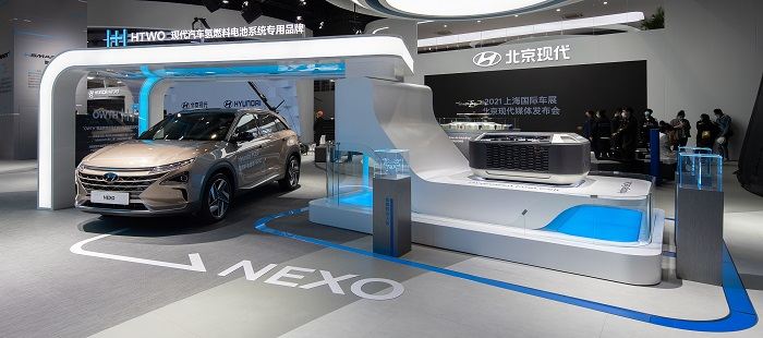 Hyundai Motor Co. exhibits the NEXO hydrogen fuel cell electric vehicle during the Shanghai International Automobile Industry Exhibition on April 19, 2021, in this photo provided by the automaker.