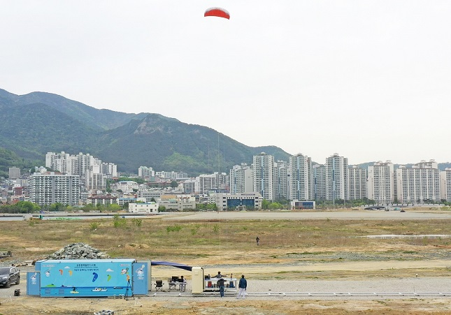 This photo provided by the Korea Electrotechnology Research Institute shows a test for new high-altitude wind power technology.