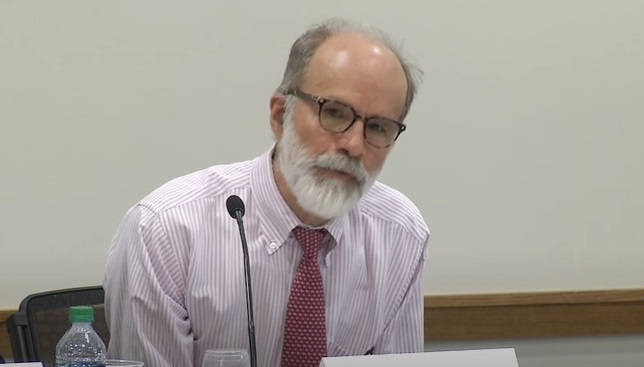 This photo, captured from the YouTube account of Harvard Law School, shows Professor J. Mark Ramseyer.