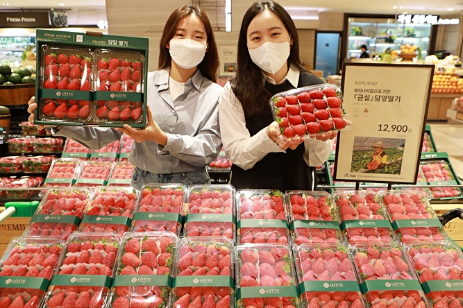 Models pose with strawberries at a supermarket in Seoul, in this file photo provided by Lotte Shopping Co.